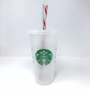 Starbucks Candy Cane Venti Coffee Cup Reusable Red